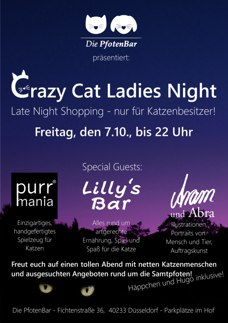 Crazy Cat Ladies Night – Late Night Shopping für Katzenbesitzer am 07.10.2016 bis 22 Uhr